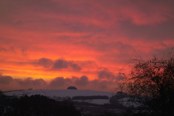 In a month with mainly leaden skies and exceptionally mild, the last week saw a plunge in temperatures, and a Turner- esque sunrise for the last day of the month 31/01/12