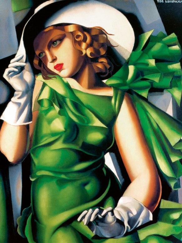 La jeune fille avec les gantes en vert